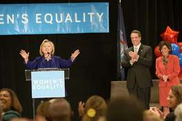From left: Former Secretary of State Hillary Rodham Clinton, New York Gov. Andrew Cuomo and New York Lt. Governor nominee Kathy Hochul during a re-election rally for Cuomo in New York, Oct. 23, 2014. Cuomo is facing Rob Astorino, the Westchester County Executive, as his Republican opponent in the Nov. 4 general election. (Fred R. Conrad/The New York Times) ORG XMIT: XNYT30