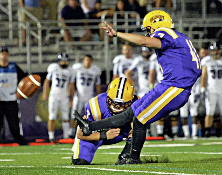 UAlbany kicker Patrick Toole's extra point is good to win Saturday's season opener against  Holy Cross at Bob Ford Field in Albany, NY.   (John Carl D'Annibale / Times Union) Photo: John Carl D'Annibale / 00028391A