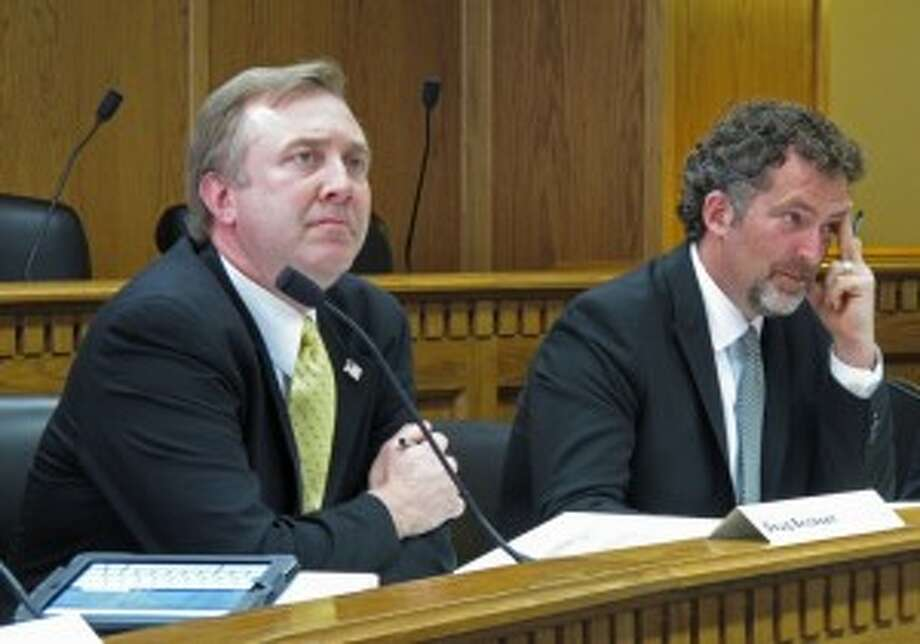 Rivals on the environment from neighboring districts, State Sen. Doug Ericksen, R-Ferndale (l) and Kevin Ranker, D-Orcas.  Ranker has relinquished Senate leadership position while the Senate investigates the allegation of a onetime aide that he sexually harassed her during the 2010 session of the Legislature.