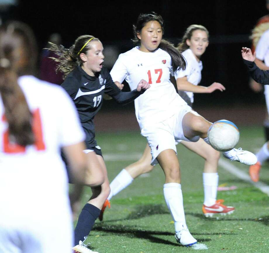 Girls high school soccer match between Greenwich High School and Trumbull High School at Greenwich, Conn., Thursday, Oct. 23, 2014. Greenwich won the match, 1-0. Photo: Bob Luckey / Greenwich Time