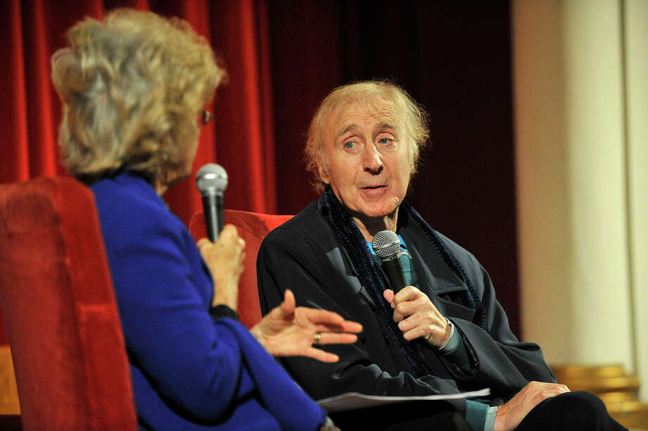"""Karen Wilder, left, moderates a Q and A with her actor husband, Gene Wilder, after the showing of """"Blazing Saddles"""" at the Avon Theatre in Stamford, Conn., on Thursday, Oct. 23, 2014. Photo: Jason Rearick / Stamford Advocate"""