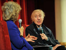 "Karen Wilder, left, moderates a Q and A with her actor husband, Gene Wilder, after the showing of ""Blazing Saddles"" at the Avon Theatre in Stamford, Conn., on Thursday, Oct. 23, 2014."