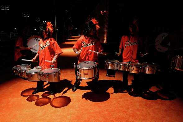 Drummers perform at the 2014 World Series Gala in San Francisco on Oct. 23, 2014.