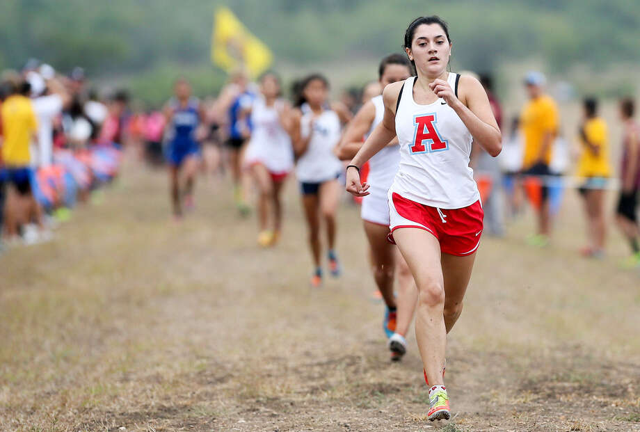 Former O'Connor runner HaLeigh Galvan, who finished fifth for Antonian in the gold division at the UTSA Ricardo Romo Invitational on Sept. 20, hopes to help the Apaches to a TAPPS state title Saturday in Elm Mott. Photo: Marvin Pfeiffer / San Antonio Express-News / Express-News 2014