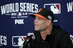 San Francisco Giants pitcher Tim Hudson answers questions during a news conference on Thursday, Oct. 23, 2014, in San Francisco. The Giants are to play the Kansas City Royals in Game 3 of baseball's World Series in San Francisco on Friday. (AP Photo/Marcio Jose Sanchez)
