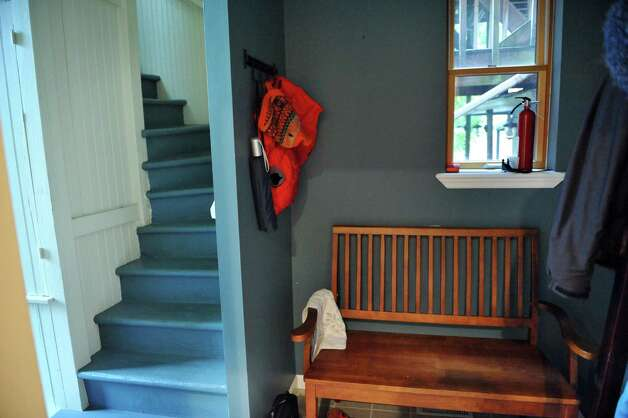 The back stairs and mud room in Sandra Rouse's newly purchased home at 159 First Street Tuesday Oct. 21, 2014, in Troy, NY.  (John Carl D'Annibale / Times Union) Photo: John Carl D'Annibale / 00029127A