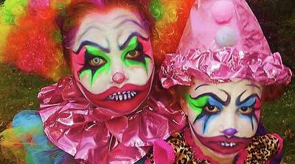 "A mom and her daughter got creative with their makeup this year. Their theme was ""Genetic Clownduct Disorder."""