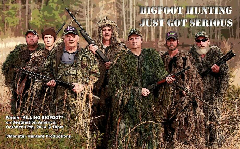 "Houstonian Bobby Hamilton, front in green vest, is featured in the Destination America episode, ""Killing Bigfoot."" (Discovery Channel)"