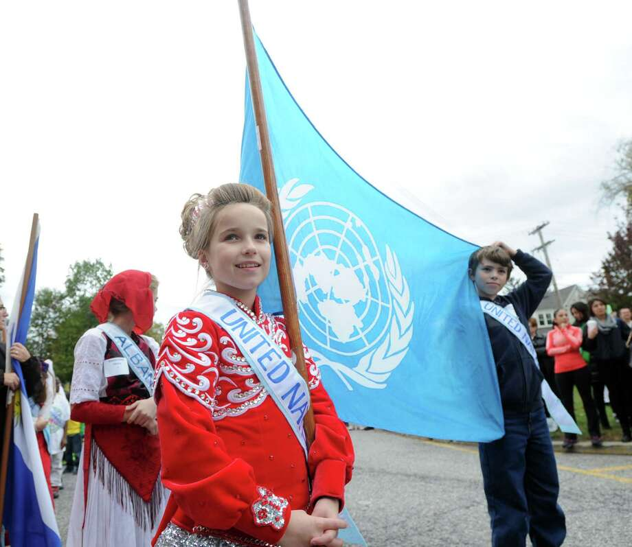 United Nations Day Parade at Julian Curtiss School in Greenwich, Conn., Friday afternoon, Oct. 24, 2014. Photo: Bob Luckey / Greenwich Time