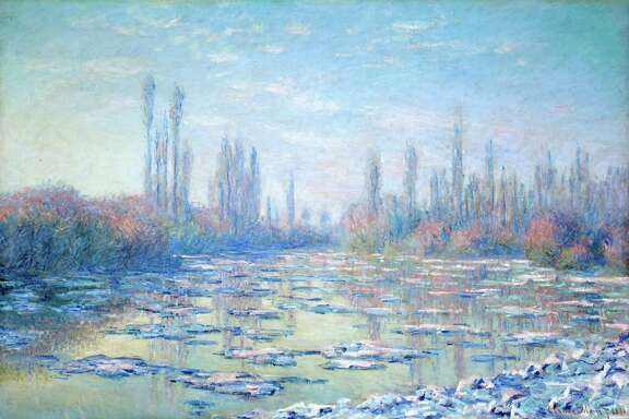 """Among paintings on view through Feb. 1 at the Museum of Fine Arts, Houston in the exhibition """"Monet and the Seine: Impressions of a River"""": Claude Monet, The Floating Ice, 1880, oil on canvas, Shelburne Museum, Shelburne, Vermont"""