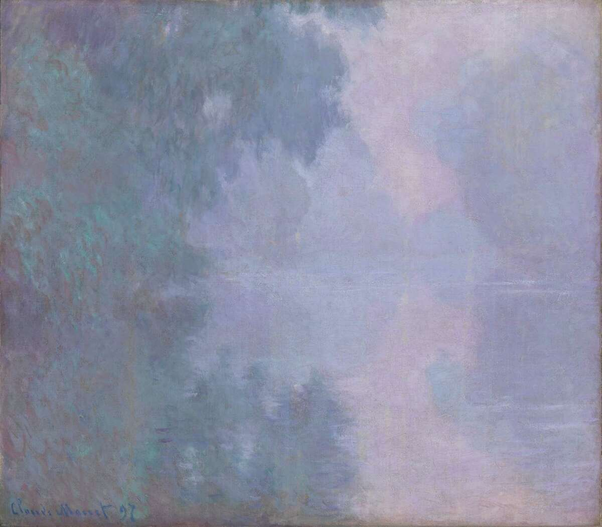 """Among paintings on view through Feb. 1 at the Museum of Fine Arts, Houston in the exhibition """"Monet and the Seine: Impressions of a River"""": Claude Monet, Morning on the Seine, Giverny, 1897, oil on canvas, Mead Art Museum, Amherst College, Bequest of Miss Susan Dwight Bliss, AC 1966.48"""