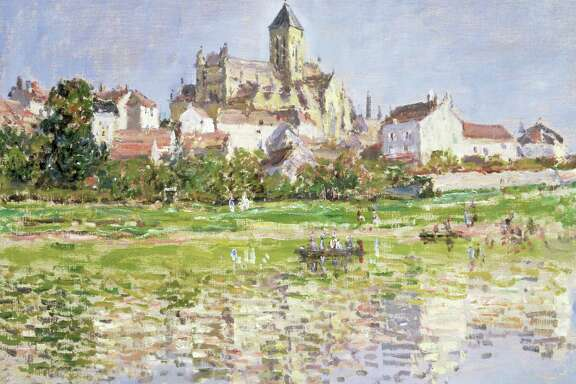 """""""The Church at Vétheuil,"""" painted in 1879, features a building Monet observed for years. Claude Monet, The Church at Vétheuil, 1880, oil on canvas, Southampton City Art Gallery, Hampshire, UK, image: The Bridgeman Art Library"""