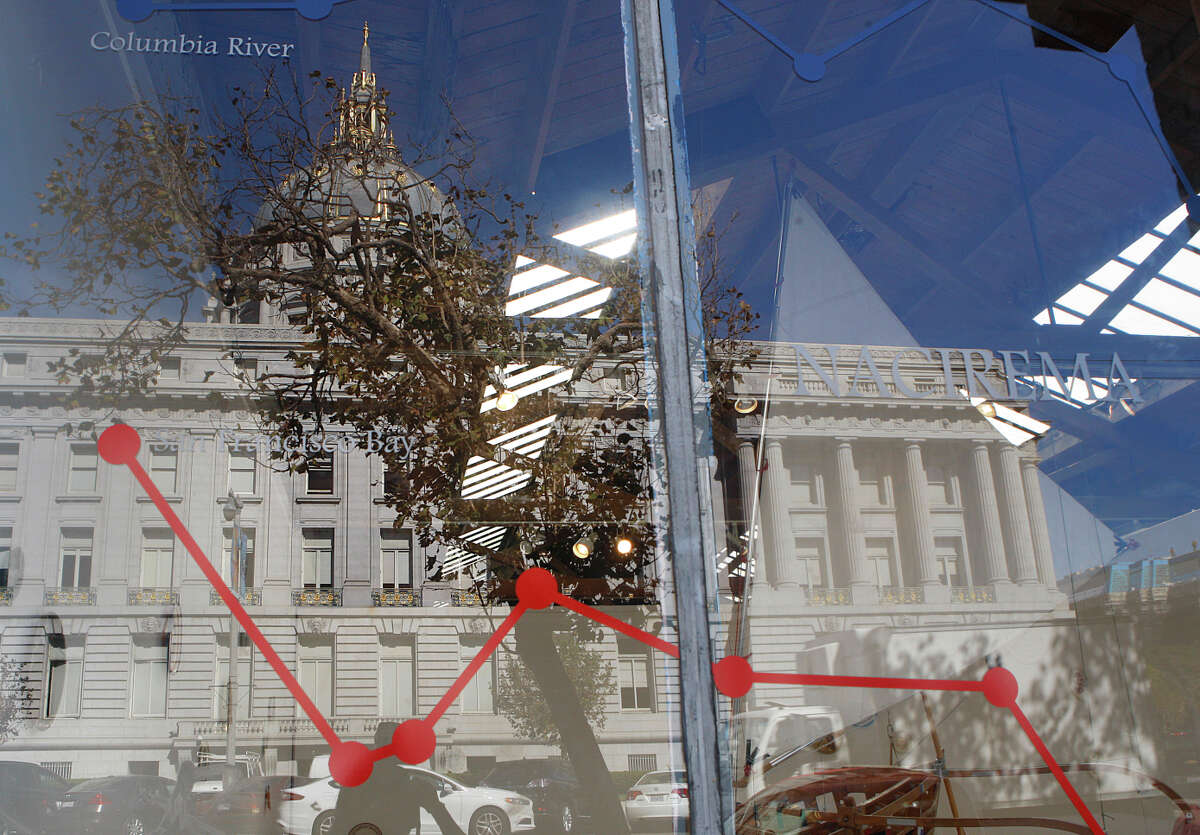 City Hall is reflected in the windows of 155 Grove St., San Francisco. The city is expected to report a 22 million dollar surplus for 2014.