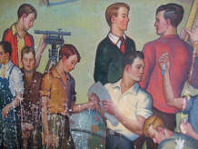 "Milford's Depression-era mural, ""They Shall Pass This Way But Once,"" has been stored for about 30 years in a Board of Education office. A project is now underway by the Milford Arts Council to stabilize and restore this valuable example of Americana, created under Franklin Delano Roosevelt's New Deal. The mural's surface is marred by splatters of a white substance, above."