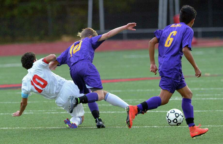 Boys high school FCIAC soccer quarterfinal match between Westhill High School and Greenwich High School at Greenwich, Conn., Friday afternoon, Oct. 24, 2014. Greenwich advanced to the semifinal round with a 4-1 victory over Westhill. Photo: Bob Luckey / Greenwich Time