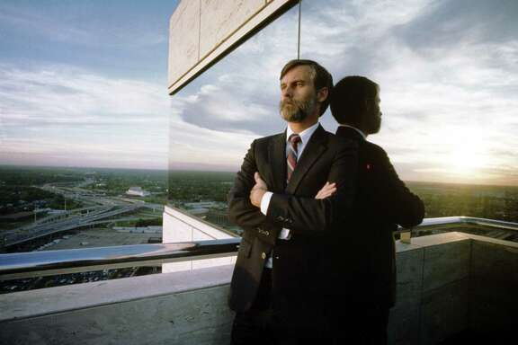 From a futuristic vantage point, University of Houston futurist Peter Bishop gazes out over the city. He says post-oil boom Houston will eventually hitch itself to a new star.
