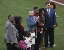 Tony Gwynn's family takes part in a ceremony honoring him before Game 3 of the World Series at AT&T Park on Friday, Oct. 24, 2014 in San Francisco, Calif.