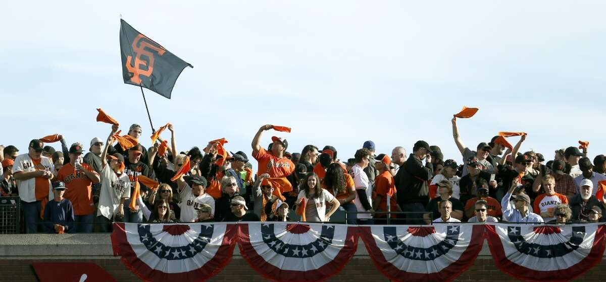 Fans cheer before Game 3 of the World Series at AT&T Park on Friday, Oct. 24, 2014 in San Francisco, Calif.