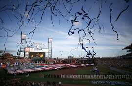 The pre-game ceremony is seen before Game 3 of the World Series at AT&T Park on Friday, Oct. 24, 2014 in San Francisco, Calif.
