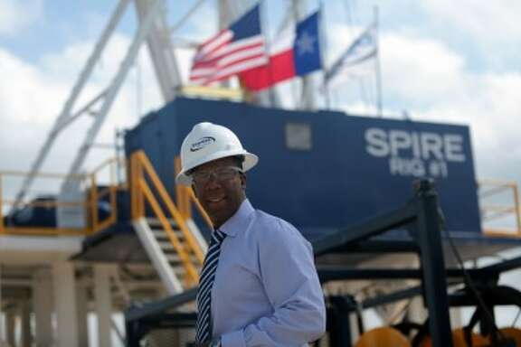 """Express Energy Services CEO Darron Anderson inspects the company's """"Express University"""" training facility in Houston."""