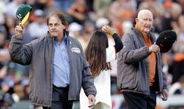 Tony La Russa (left) and Roger Craig, the two managers in the 1989 World Series, took the field Friday.
