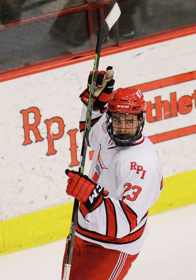 Rensselaer Polytechnic Institute's Lou Nanne (23) reacts after scoring his first college goal and the first goal of the season for RPI against Bentley University during the second period of a ECAC college hockey game in Troy N.Y., Friday, Oct. 24, 2014. (Hans Pennink / Special to the Times Union)  ORG XMIT: HP101 Photo: Hans Pennink / Hans Pennink