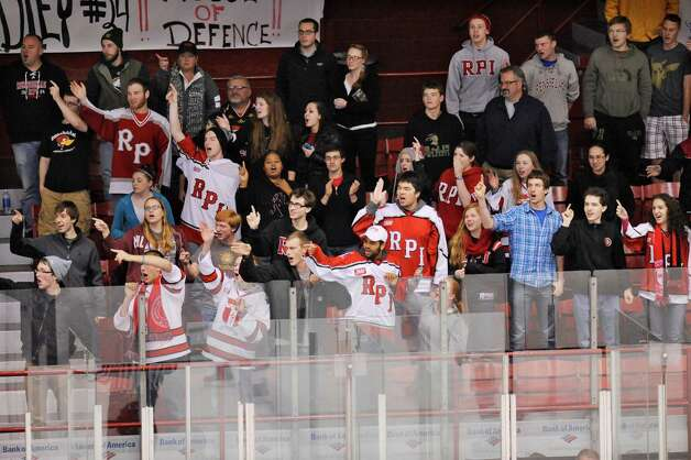 Rensselaer Polytechnic Institute fan's celebrate Lou Nanne's goal against Bentley University during the second period of a ECAC college hockey game in Troy N.Y., Friday, Oct. 24, 2014. (Hans Pennink / Special to the Times Union)  ORG XMIT: HP103 Photo: Hans Pennink / Hans Pennink