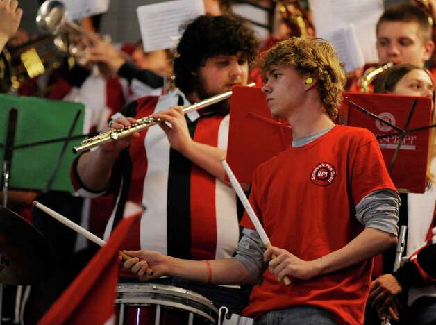 The Rensselaer Polytechnic Institute band plays during the first period of a ECAC college hockey game as RPI plays Bentley University in Troy N.Y., Friday, Oct. 24, 2014. (Hans Pennink / Special to the Times Union)  ORG XMIT: HP108 Photo: Hans Pennink / Hans Pennink