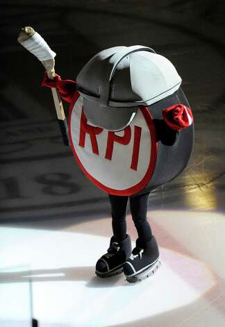 Rensselaer Polytechnic Institute's mascot is seen before the start of a ECAC college hockey game against Bentley University in Troy N.Y., Friday, Oct. 24, 2014. (Hans Pennink / Special to the Times Union)  ORG XMIT: HP113 Photo: Hans Pennink / Hans Pennink