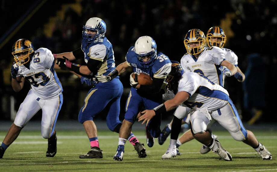 Photographs from the Brookfield at Newtown High School boys football game, Friday night, October 24, 2014, in Newtown, Conn. Photo: H John Voorhees III / The News-Times Staff Photographer