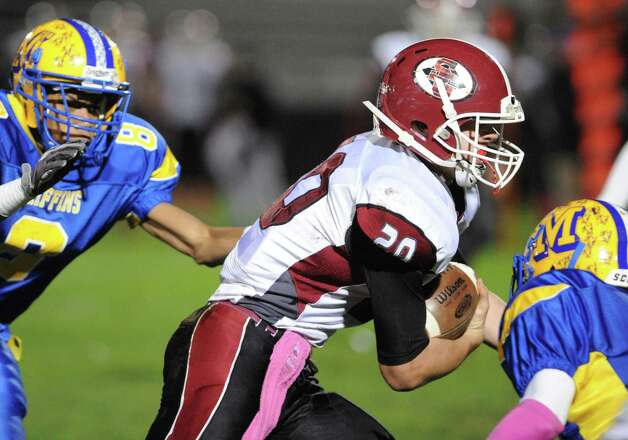 Scotia quarterback Daniel Zeglen runs for a gain during their boy's high school football game against Bishop Maginn on Friday Oct. 24, 2014 in Albany, N.Y.  (Michael P. Farrell/Times Union) Photo: Michael P. Farrell / 00029184A