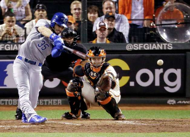 Kansas City Royals' Eric Hosmer hits an RBI single during the sixth inning of Game 3 of baseball's World Series against the San Francisco Giants on Friday, Oct. 24, 2014, in San Francisco. (AP Photo/Charlie Riedel)  ORG XMIT: WS518 Photo: Charlie Riedel / AP