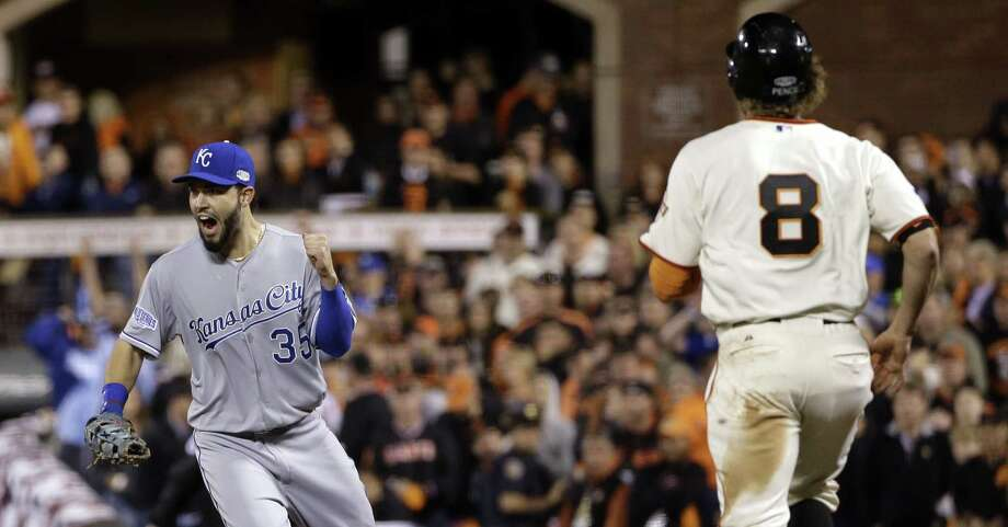 Royals first baseman Eric Hosmer, who had a key RBI, celebrates after the Giants' Hunter Pence makes the final out in the ninth. Photo: Matt Slocum / Associated Press / AP