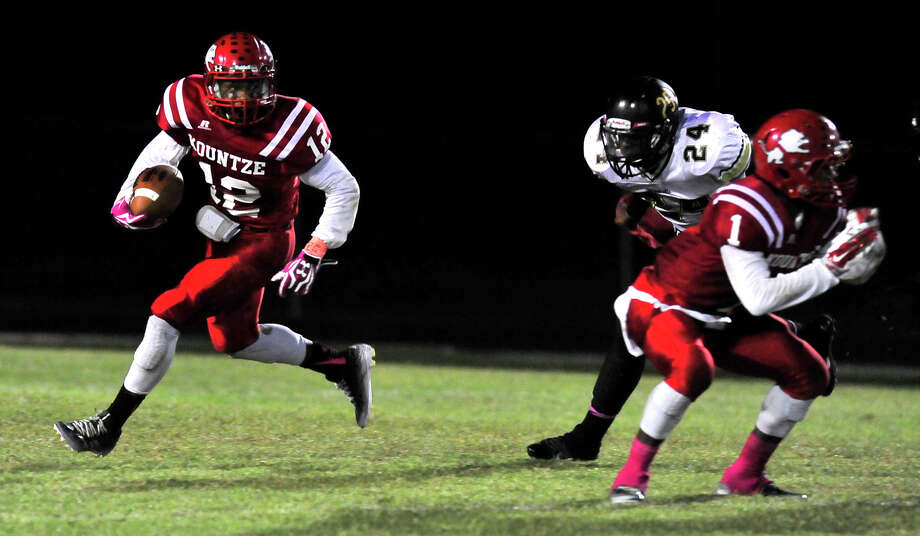 Kountze's Justin Harper runs the ball against Woodville during Friday's home game in Kountze.  Photo taken Friday, October 24, 2014  Kim Brent/@kimbpix Photo: Kim Brent / Beaumont Enterprise