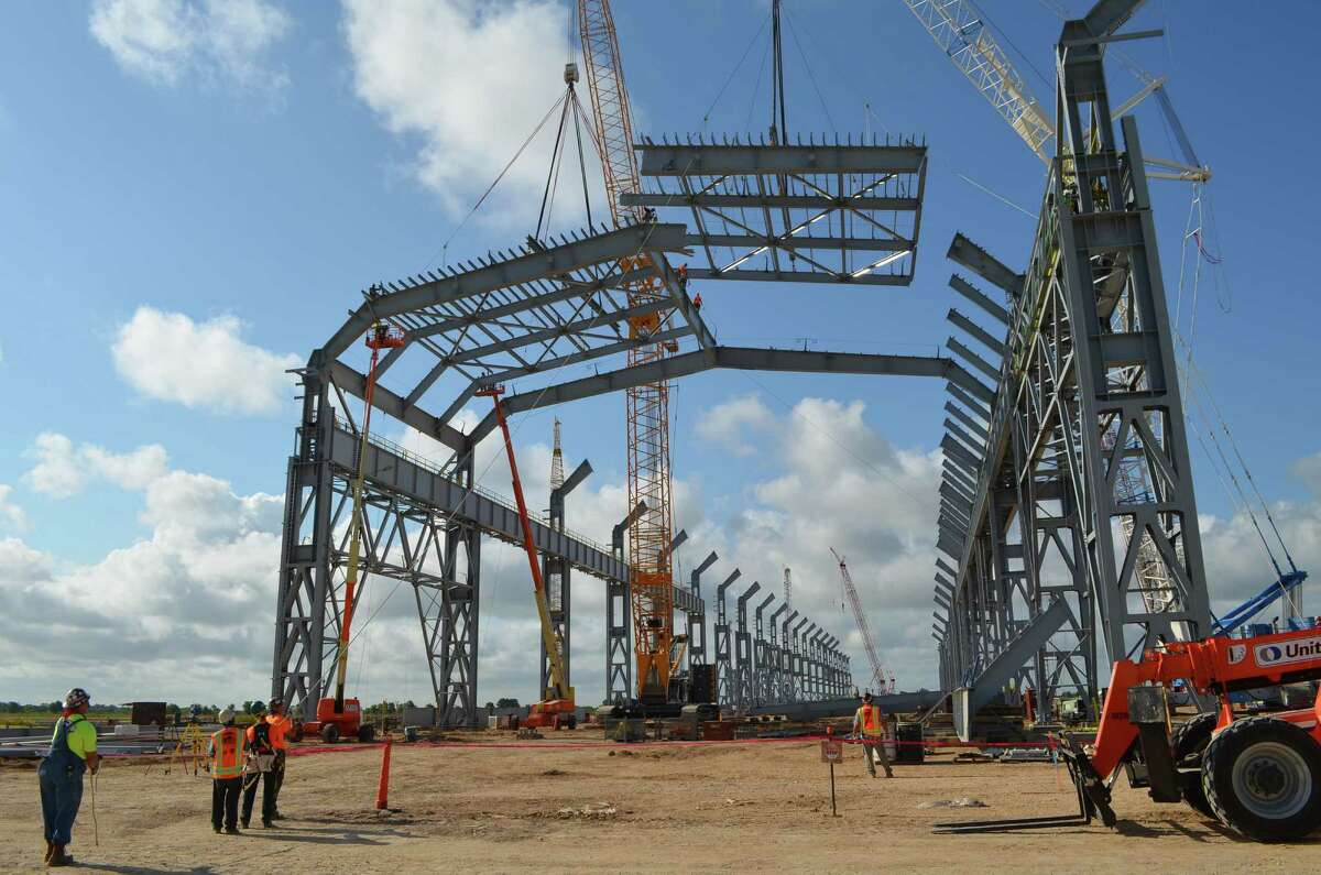Tenaris is building a state-of-the-art seamless pipe mill in Bay City, Matagorda County. The $1.5 billion project broke ground in September of 2013. The photo shows the progress as of July 2014.