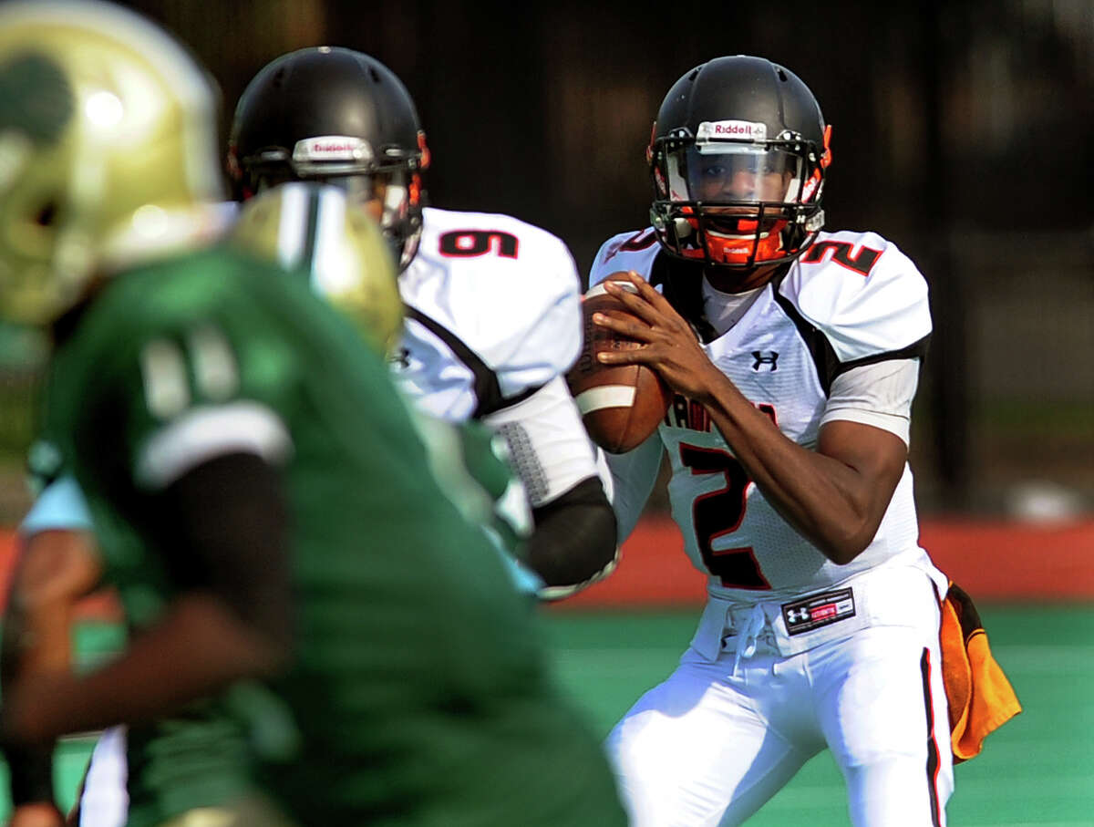 Stamford QB Jalen Brown, during football action against Bassick in Bridgeport, Conn. on Saturday October 25, 2014.
