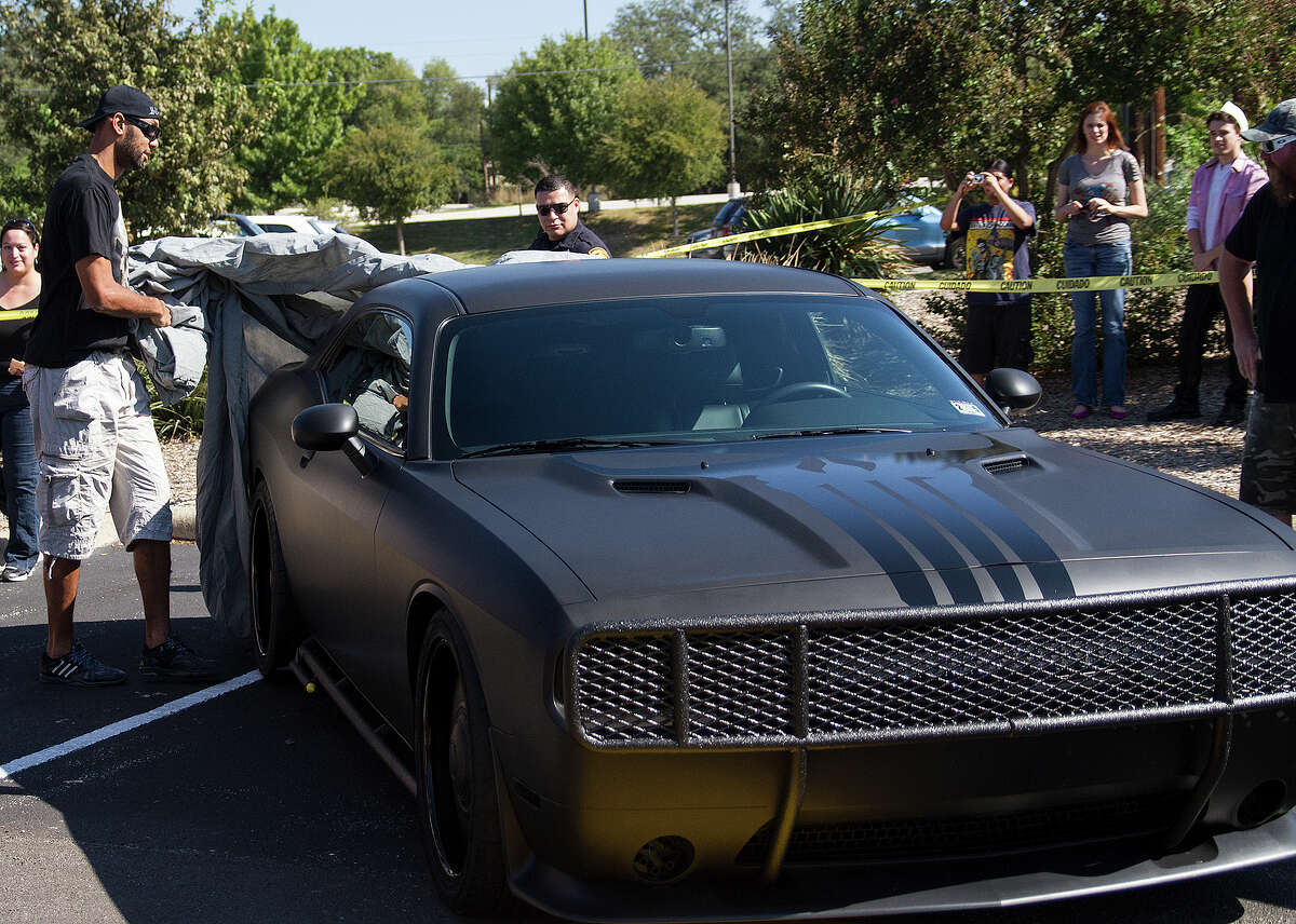 Tim Duncan unveils his Punisher concept car at Heroes and Fantasies, Saturday, Oct. 25, 2014.