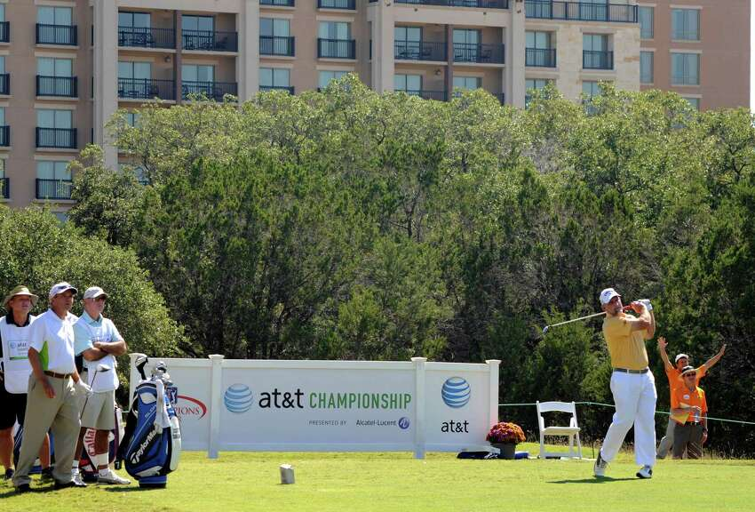 Marco Dawson watches his ball fly during day 2 of the 30th annual AT&T Championship at TPC San Antonio on Saturday, Oct. 25, 2014.