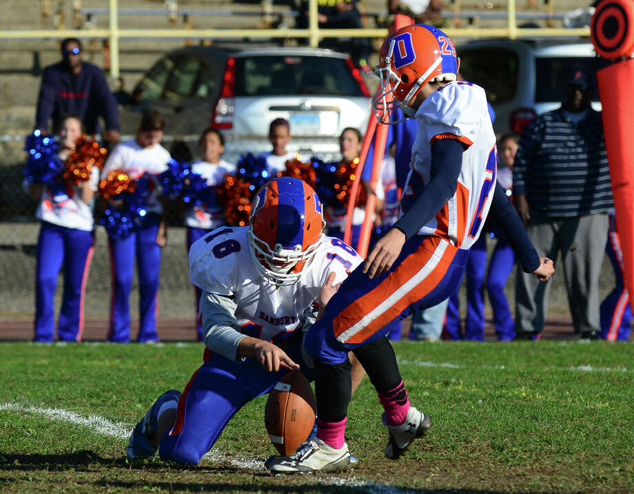 Football action between Danbury and Harding in Bridgeport, Conn. on Saturday October 25, 2014. Photo: Christian Abraham / Connecticut Post