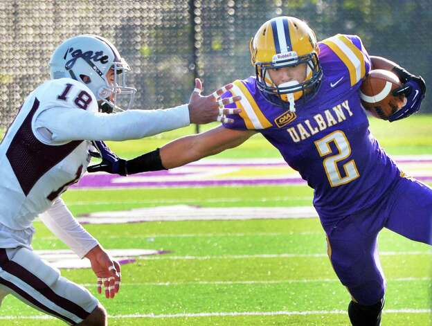UAlbany's #2 Josh Gontarek, right fends off Colgate's #18 Mike Armiento during Saturday's game at Bob Ford Field  Oct. 25, 2014, in Albany, NY.  (John Carl D'Annibale / Times Union) Photo: John Carl D'Annibale / 00029094A