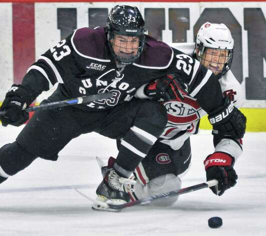 Union's #23 Tyler Hynes, left, and St. Cloud State's #40 Tim Daly vie for the puck during Saturday's game at Messa Rink Oct. 25, 2014, in Schenectady, NY.  (John Carl D'Annibale / Times Union) Photo: John Carl D'Annibale / 00029151B