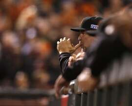 Giants manager Bruce Bochy watches the game in the third inning during Game 4 of the World Series at AT&T Park on Saturday, Oct. 25, 2014 in San Francisco, Calif.