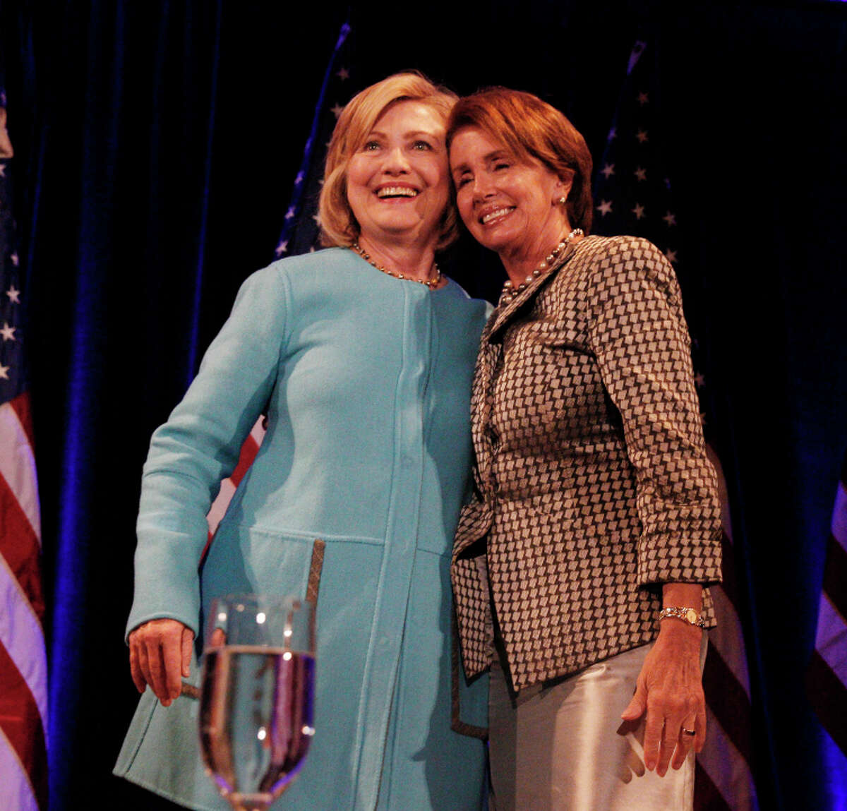 Hillary Rodham Clinton (left) and House Minority Leader Nancy Pelosi at a women's luncheon in S.F.