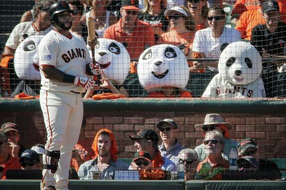 Former Giants third baseman Pablo Sandoval waits to hit during Game 3 of the NLDS at AT&T Park on Oct. 6.