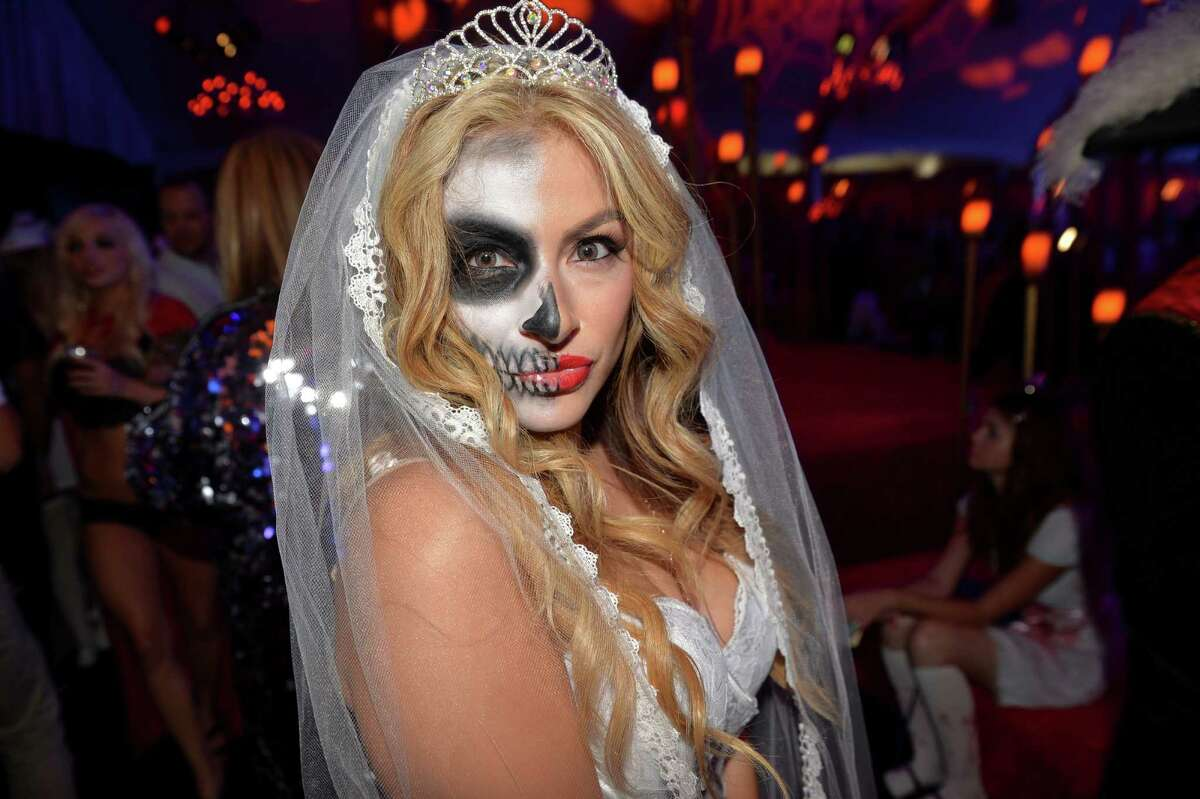 Guest attends Playboy Mansion's Annual Halloween Bash at The Playboy Mansion on October 25, 2014 in Los Angeles, California.