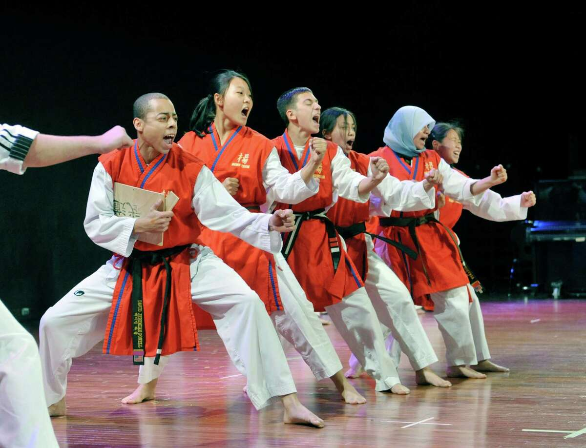 Representing the country of Korea, students from Master Yang's Martial Arts Center in Latham perform Taw Kwon Do during the 43rd annual Festival of Nations at the Empire State Plaza Convention Center on Sunday, Oct. 26, 2014, in Albany, N.Y. (Paul Buckowski / Times Union)