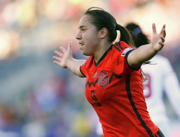 Mexico forward Veronica Charlyn Corral (9) reacts after scoring a goal in overtime against Trinidad and Tobago during a CONCACAF soccer match in Chester, Pa., Sunday, Oct. 26, 2014. Mexico defeated Trinidad and Tobago 4-2 in overtime. (AP Photo/Rich Schultz) ORG XMIT: PARS105 Photo: Rich Schultz / FR27227 AP