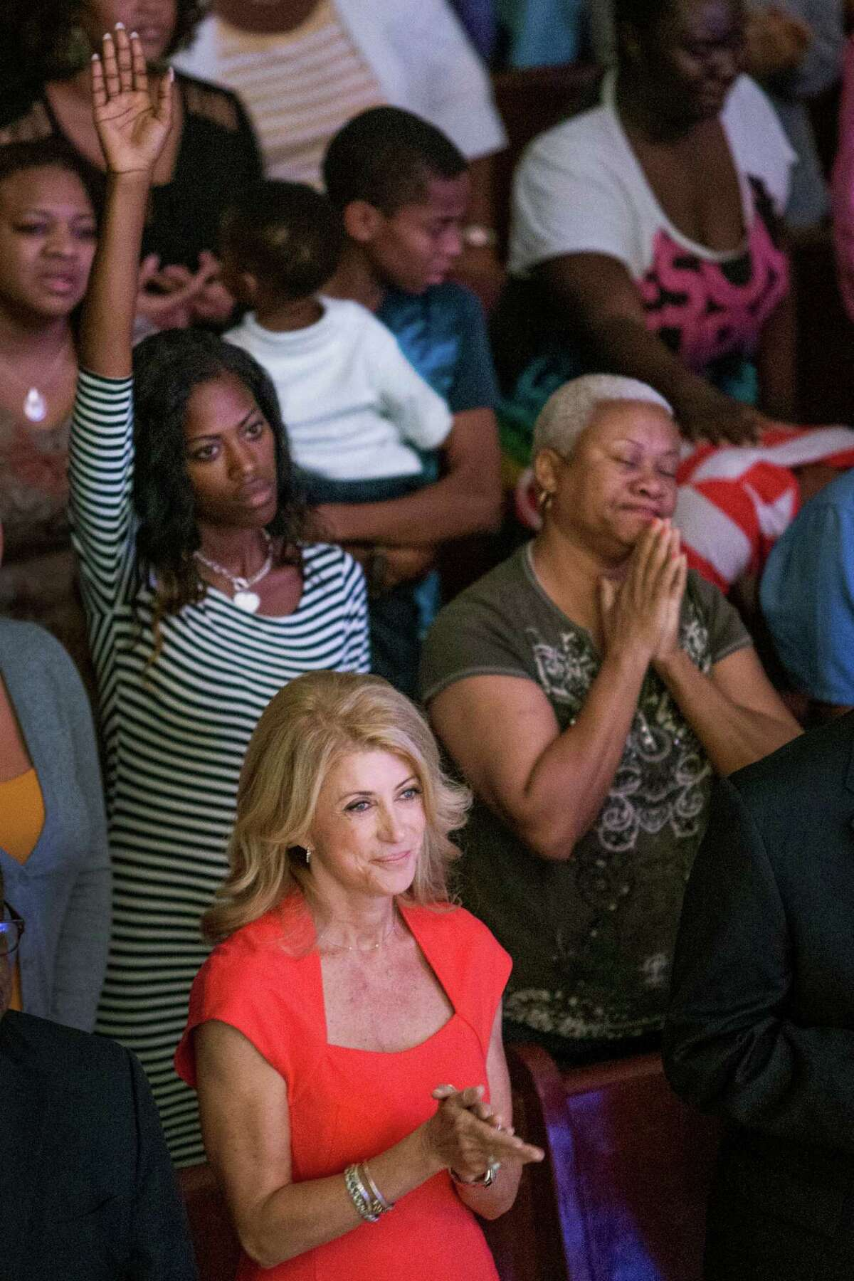 Gubernatorial candidate Wendy Davis on Sunday visited churches that included St. Johns United Methodist and Community of Faith. Expected to lose by as many as 15 points, she hopes encouraging her base to vote early will aid her campaign.