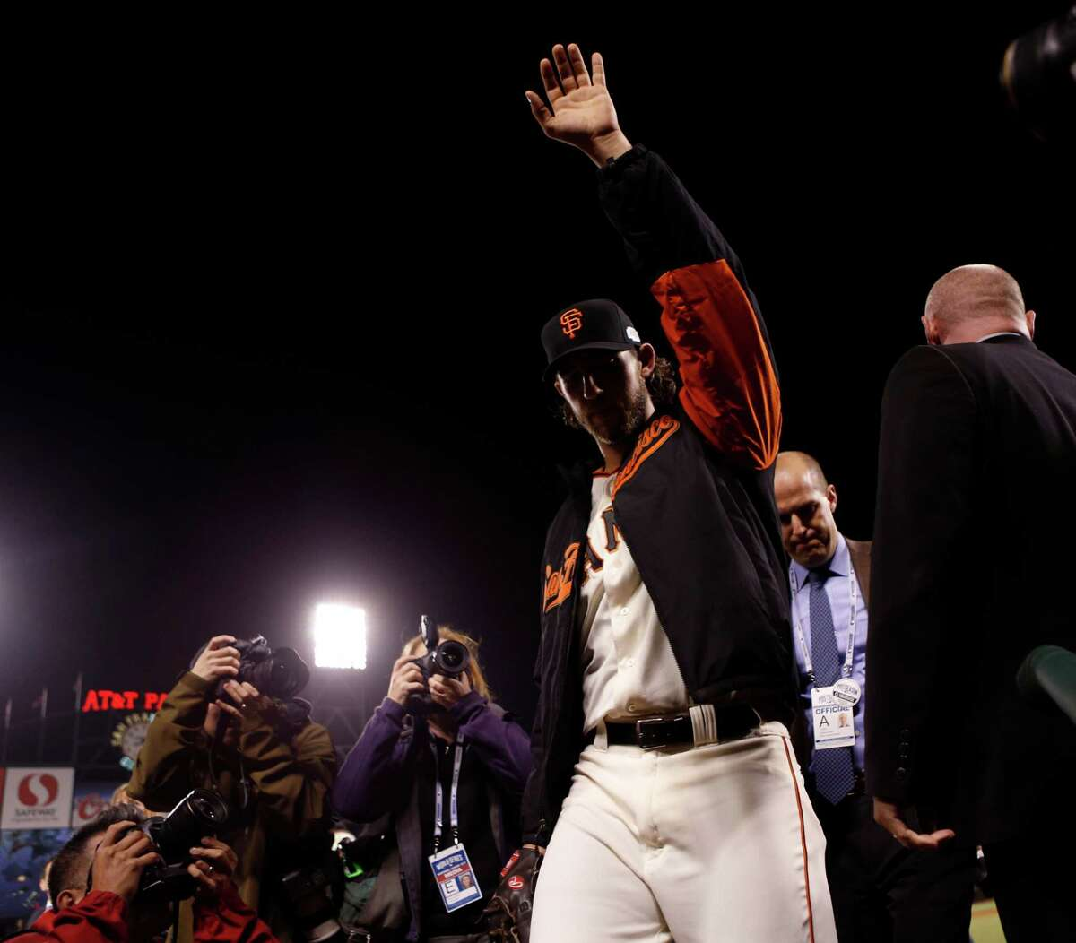 San Francisco Giants' Madison Bumgarner after 5-0 win over Kansas City Royals in Game 5 of the World Series at AT&T Park in San Francisco, Calif.. on Sunday, October 26, 2014.