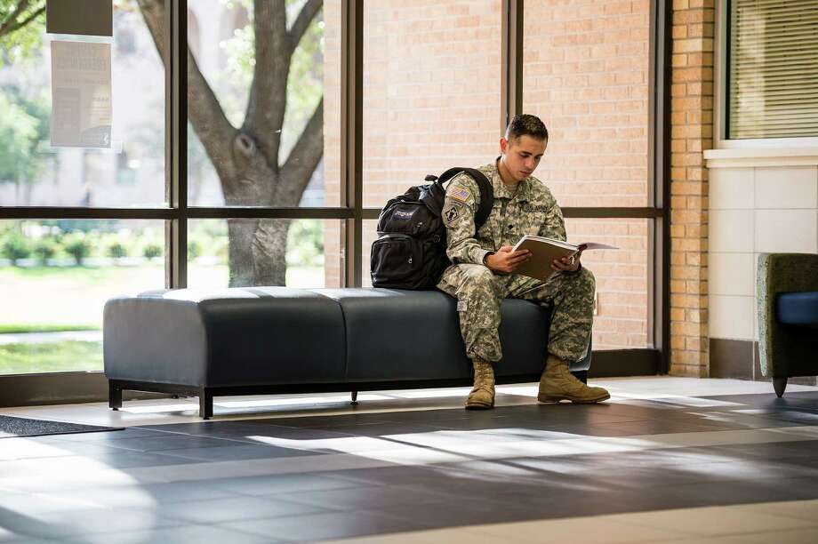 Military veteran students connect with peers and find friends at San Jacinto College veteran centers. The centers at all three campuses provide many specialized resources for veterans, a key reason that San Jacinto College maintains the designation as a military-friendly institution.
